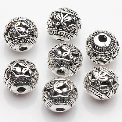 10PCS Silver Hollow Butterfly Round Spacer Loose Beads DIY Making Finding 8mm