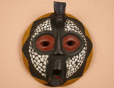 ANTIQUE African Tribal  Woman Ashanti Wood Carved Painted MASK Ghana Artifact