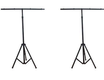 A Pair Of Steel Heavy-duty T-Bar Lighting Stand W/ Side & Support Bars in USA