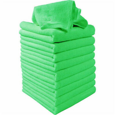 10Pcs Green Microfibre Cleaning Auto Car Detailing Soft Cloths Wash Towel Duster