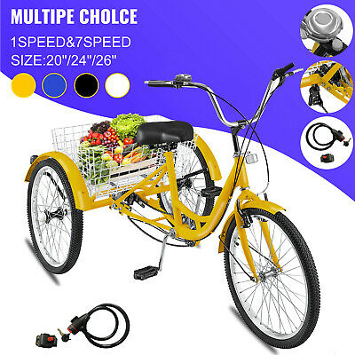 """20/24/26"""" Adult Tricycle 1/7 Speed 3-Wheel For Shopping W/ Installation Tools"""