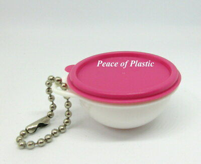 Tupperware NEW Vintage Classic Mini White Thatsa Bowl Keychain PINK Lid Chain