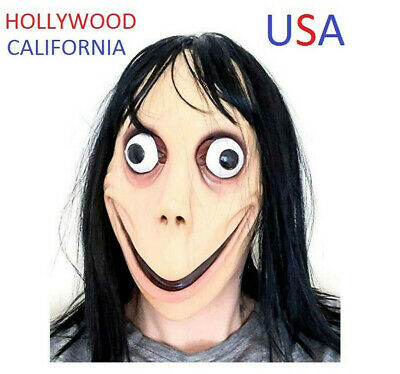 Genuine- Momo Mask Scary Halloween Cospl Costume Wig Adult Latex Friday The 13Th