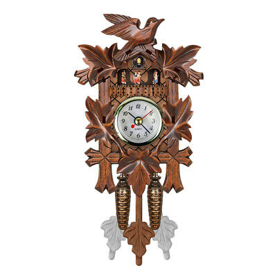 Cuckoo Wall Clock Bird Wood Hanging Decorations for Home Cafe Restaurant G1B6