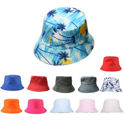 Fashion Floral Solid Cotton Bucket Hats Cap Travel Hat Camping Outdoor Women Men