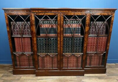 Antique / Maple & Co Mahogany Inlaid Breakfront 4 Door Bookcase Circa 1890
