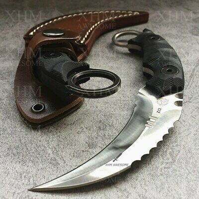 D2 Tactical Karambit Outdoor Hunting Fixed Blade Knife CSGO Combat Claw Knives