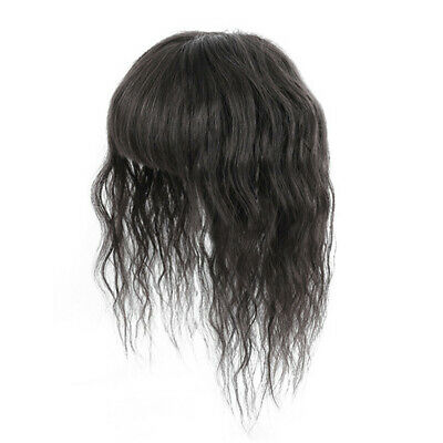 Topper Hairpieces with Bangs Clip on Curly Wavy 100% Human Hair Thin White Hair