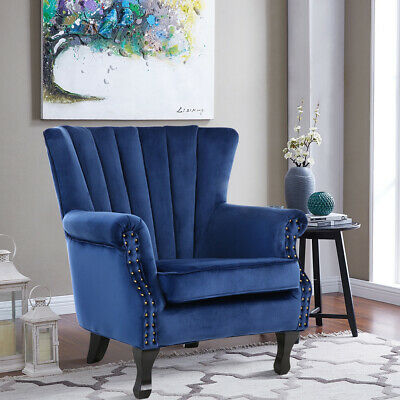 Upholstered Velvet Retro Style Armchair Fabric Seat Empress Blue Wing Stud Chair