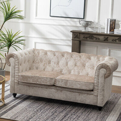 Chesterfield Oversized 2 Seater Sofa Love Seat Chair Crushed Velvet Foam Settee