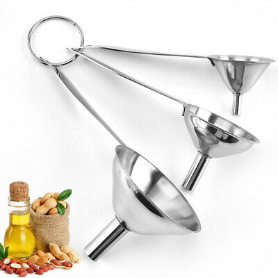 Silver Mini Stainless Steel Funnel Small Metal Portable Funnels Kitchen Tool 1x