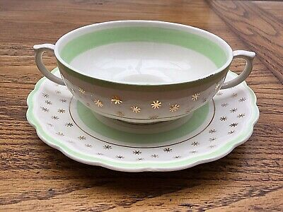 VINTAGE: Woods Ivory Ware Soup Bowl and Saucer, gold stars