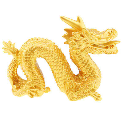 Chinese Dragon Statue Wealth Feng Shui Figurine Table Decoration Golden