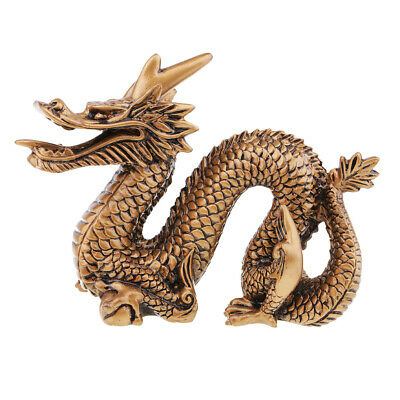 Chinese Dragon Statue Wealth Feng Shui Figurine Table Decoration Bronze