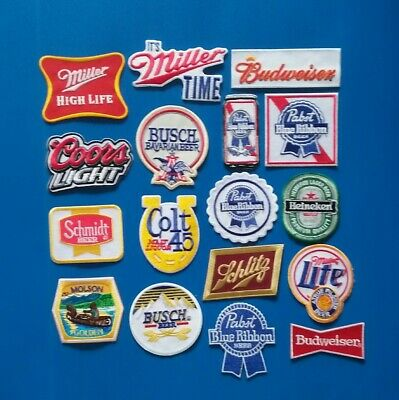 17 LOT COORS BUD PABST MILLER Embroidered Iron Or Sewn On BEER Patches Free Ship