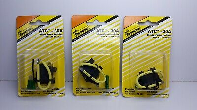 Lot of 3 Bussmann BP/HHD-30-RP - ATC Inline Fuse Holder W/ ATC-30A Fuse Included
