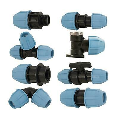 Pipe Adaptor Fittings MDPE Male Female Plumbing Stopcock Wall Elbow Water System
