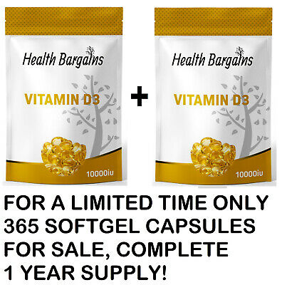 """""""Vitamin D3"""" 10,000 IU, Max Strength D3 Supplement, 365 Easy to Swallow £6.95!!"""