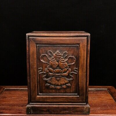 "11"" Chinese old antique huanghuali wood handcarved louts flowers Jewelry box"