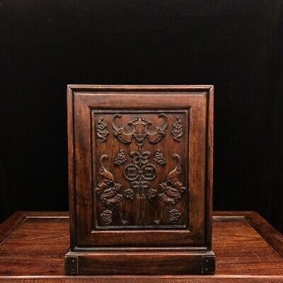 """11"""" Chinese old antique huanghuali wood handcarved bat Jewelry box"""