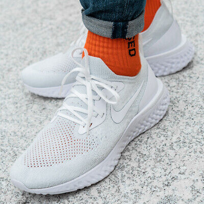 quality design 9c5e6 cb2ad Nike Epic React Flyknit chaussures hommes sport loisir blanche course AQ0067 -102