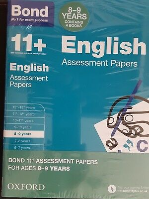 Bond 11 plus Assessment Papers English Maths Verbal Reason 4 Book Set 8-9Years