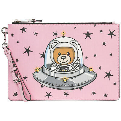 Moschino Women's Clutch Handbag Bag Purse New Ufo Teddy Pink 9F4