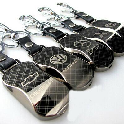 Fashion Men's Zinc Alloy Leather Keychain Keyring Key Chain Fob With Car Logo