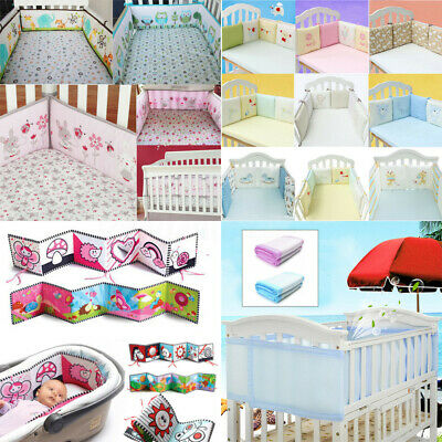 4/6Pcs Baby Infant Cotton Cot Crib Bumper Safety Protector Nursery Bedding AU