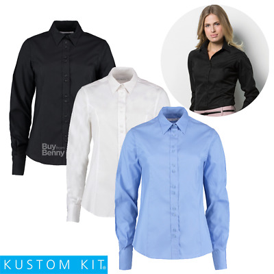 Kustom Kit Mujer Blusa Camisa Stand Up Cuello Puños Smart 100% Cotton Top 8-20