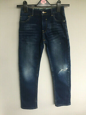 Next Lovely Blue Denim Girls Jeans With Distressed Look - Size 8 Years - Vgc
