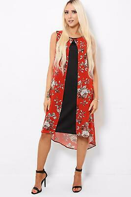 Stunning Red White Grey Rose Floral Overlay Layer Dip Hem Dress Size 10-24