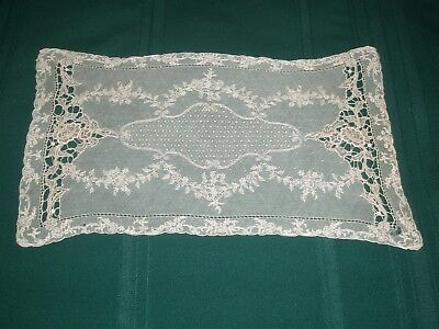 Stunning Handmade Antique Belgian Brussels Lace Dresser Scarf Or Placemat