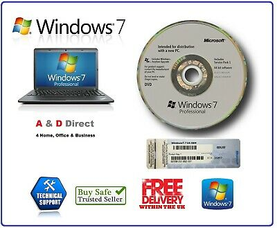 Brand Microsoft Windows 7 Pro Professional 64Bit SP1 DVD Full & COA License