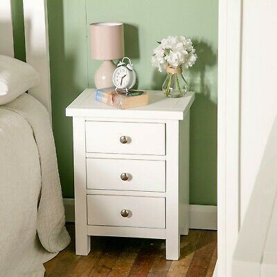 White Bedside Table - Solid Wood Bedside Cabinet - Painted - Fully Assembled