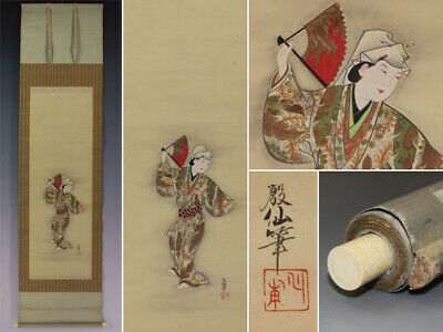JAPANESE PAINTING HANGING SCROLL JAPAN BEAUTY Dance ANTIQUE VINTAGE PICTURE 131n