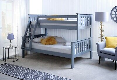 4ft above 3ft Triple Trio wood bunk beds.White,Pine,Grey Twin Stacker beds