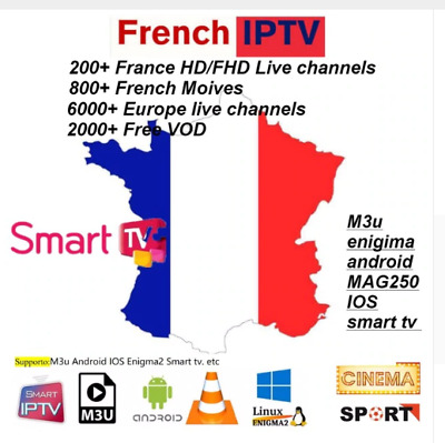 Iptv Abonnement12 Mois Ful Hd 8000+ Chaines/Adult/Android/M3U/Vlc