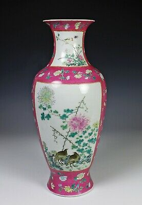 Large Old Chinese Republic Period Vase with Flowers and Birds on Pink Ground