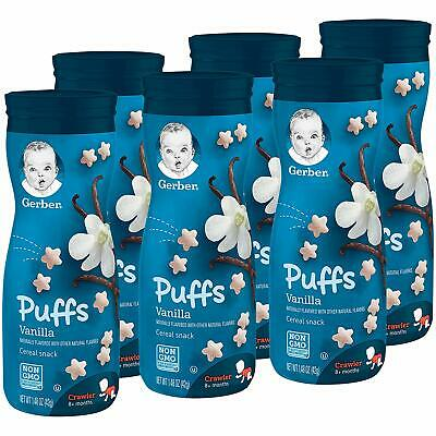 Gerber Graduates Puffs - Vanilla - Baby Cereal Snack 42g (Pack of 6)