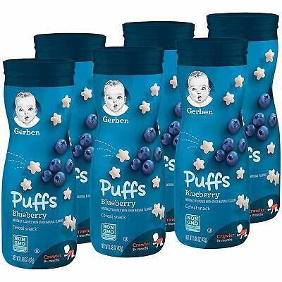 Gerber Graduates Puffs - Blueberry - Baby Cereal Snack 42g (Pack of 6)