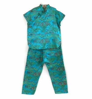 Girls Chinese Outfit Turquoise Brocade Girls Top and Pant Set from Malaysia