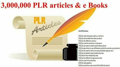 3,000,000 PLR articles & E books Collection with Master Resell Rights 24 hrs