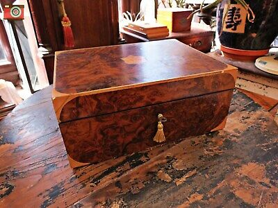 A Charming Victorian Burr Walnut Jewellery Box, Nice Detail, Restored & Lovely