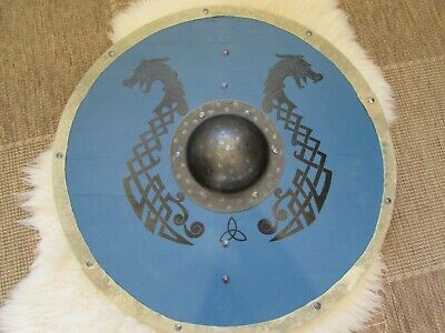 Blue with black dragons handmade Viking Shield