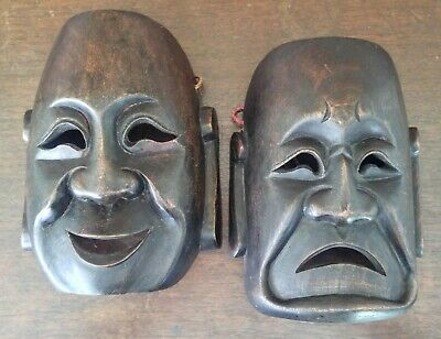 Vintage Asian Buddha Comedy Tragedy Theater Carved Wood Masks