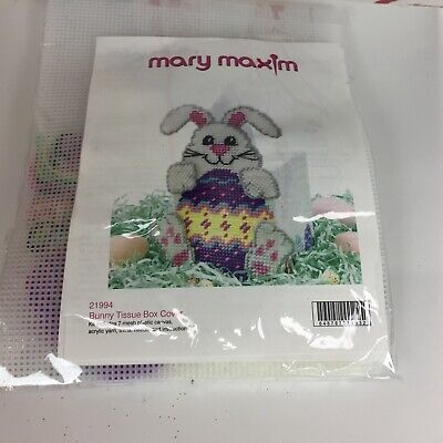 Mary Maxin Bunny Tissue Box Cover Craft Kit #21994 Plastic Canvas 2003