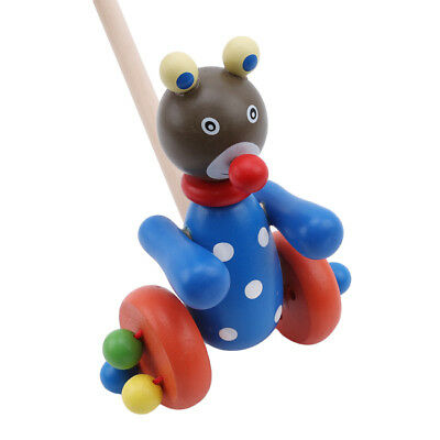 Wooden Cartoon Animal Stroller Baby Walker Cart Learning Toy Toddler Baby WE