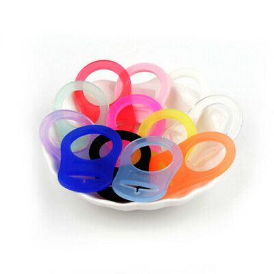 5pcs Colorful Silicone Mam Ring Button Baby Dummy Pacifier Clip Adapter WE
