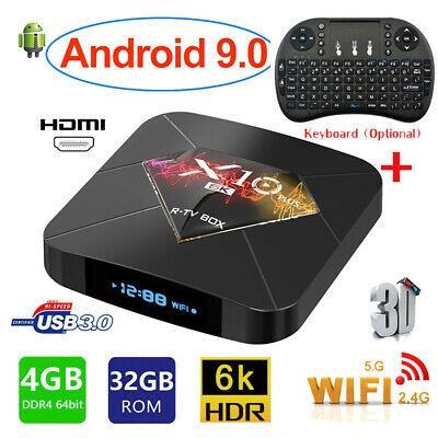 Lot X10 PLUS TV Box 4+32G H6 Quad Core LCD Android9.0 WiFi 6K 3D Player+Keyboard